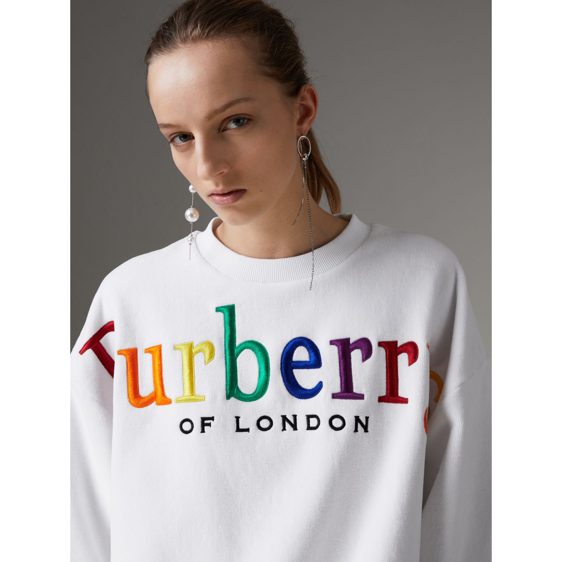 Archive Logo Towelling Sweatshirt in White - Women | Burberry Canada - gallery image 1