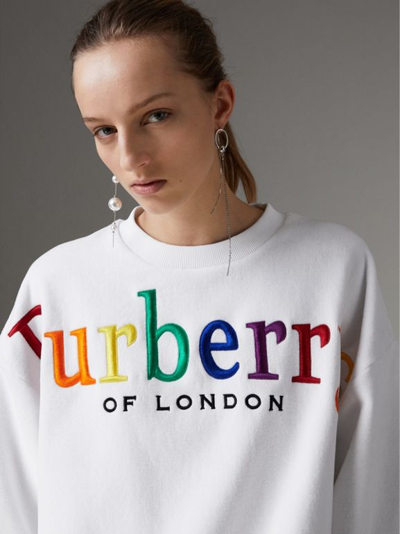 Archive Logo Towelling Sweatshirt in White - Women | Burberry Canada - cell image 1