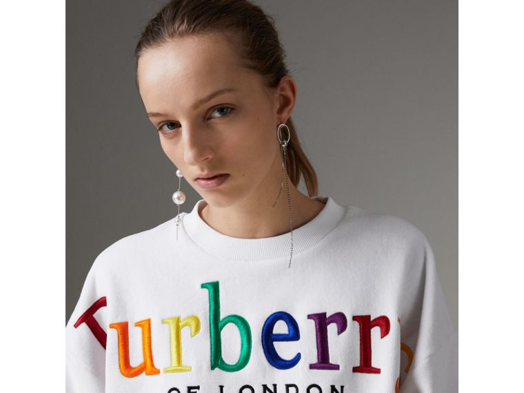 Archive Logo Towelling Sweatshirt in White - Women | Burberry Australia - cell image 1