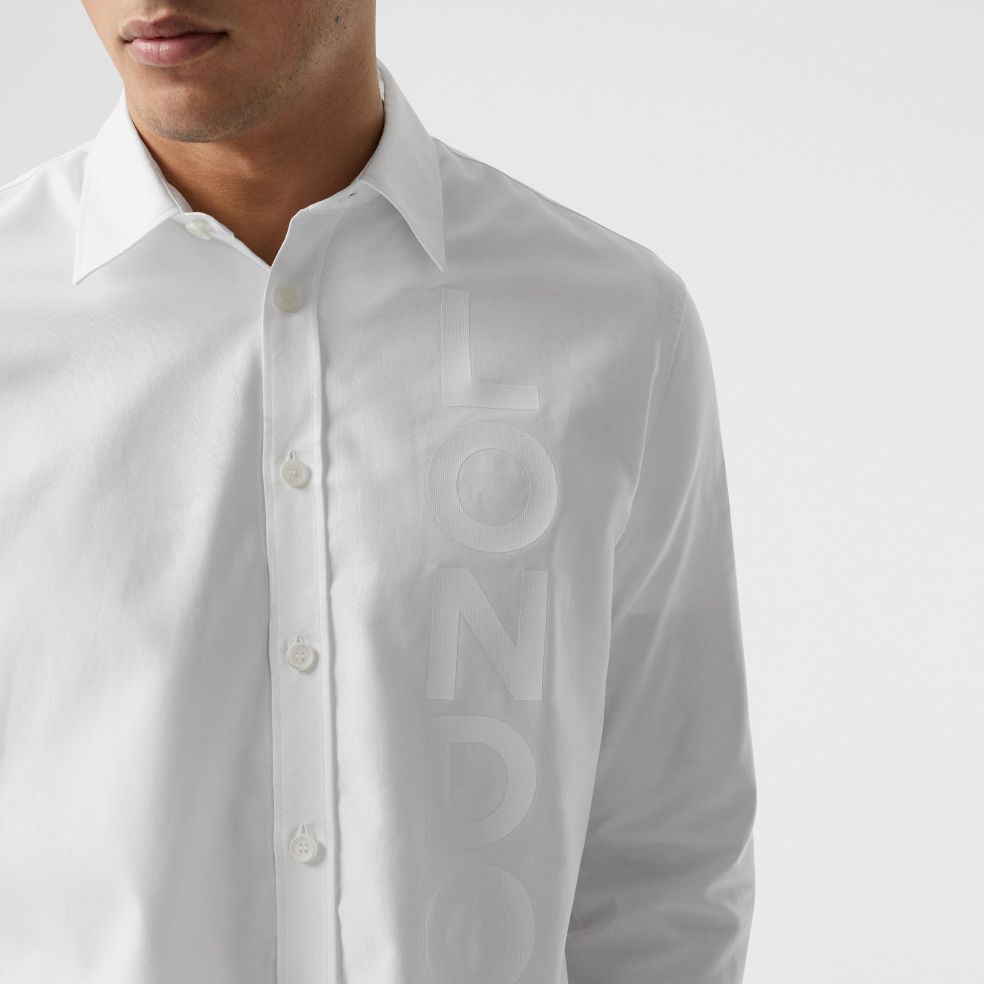 London Print Cotton Oxford Oversized Shirt in White - Men | Burberry Australia - gallery image 1