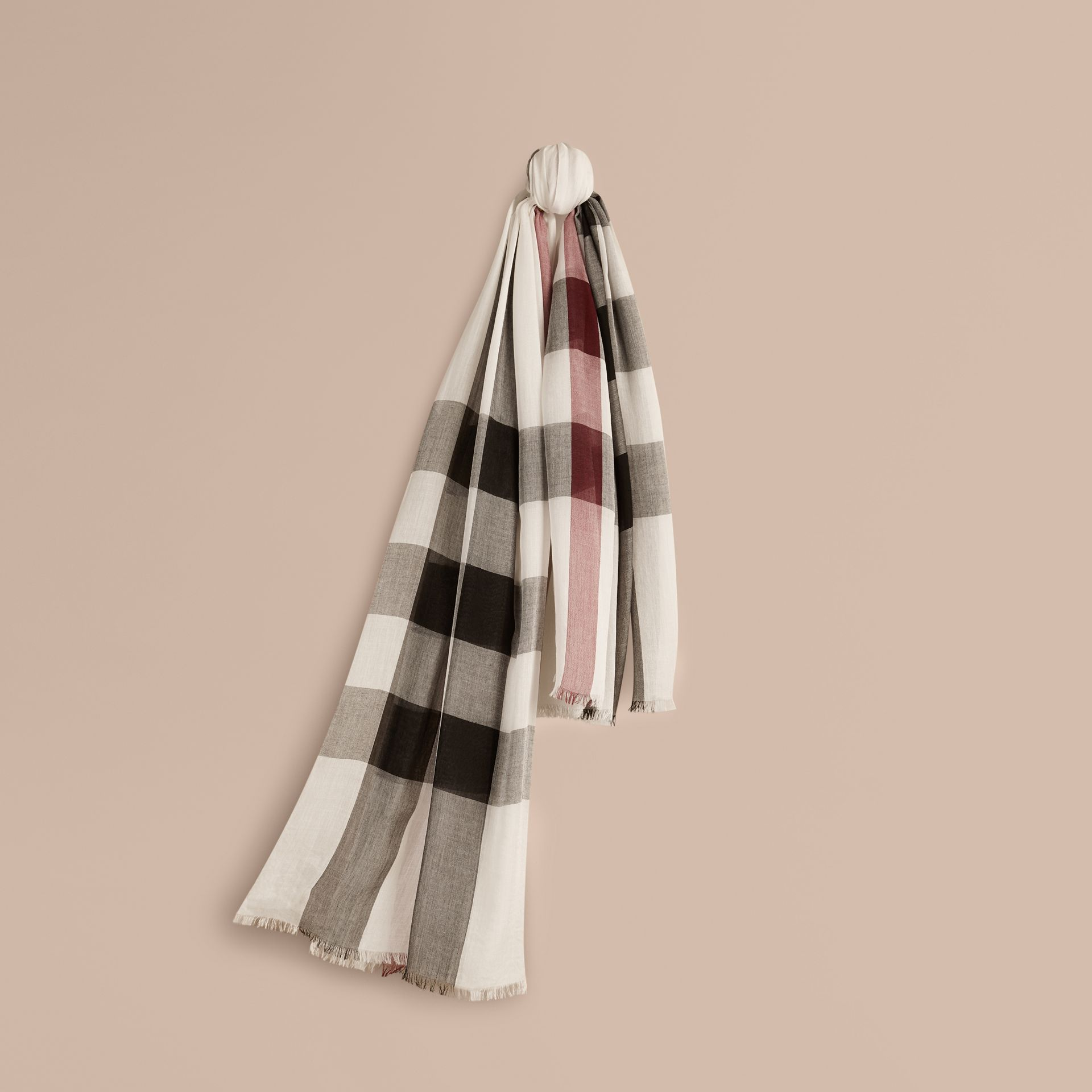 Check Modal Cashmere and Silk Scarf in Ivory - gallery image 1