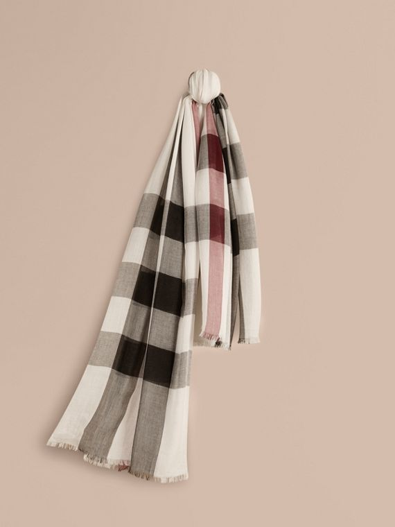 Check Modal Cashmere and Silk Scarf in Ivory