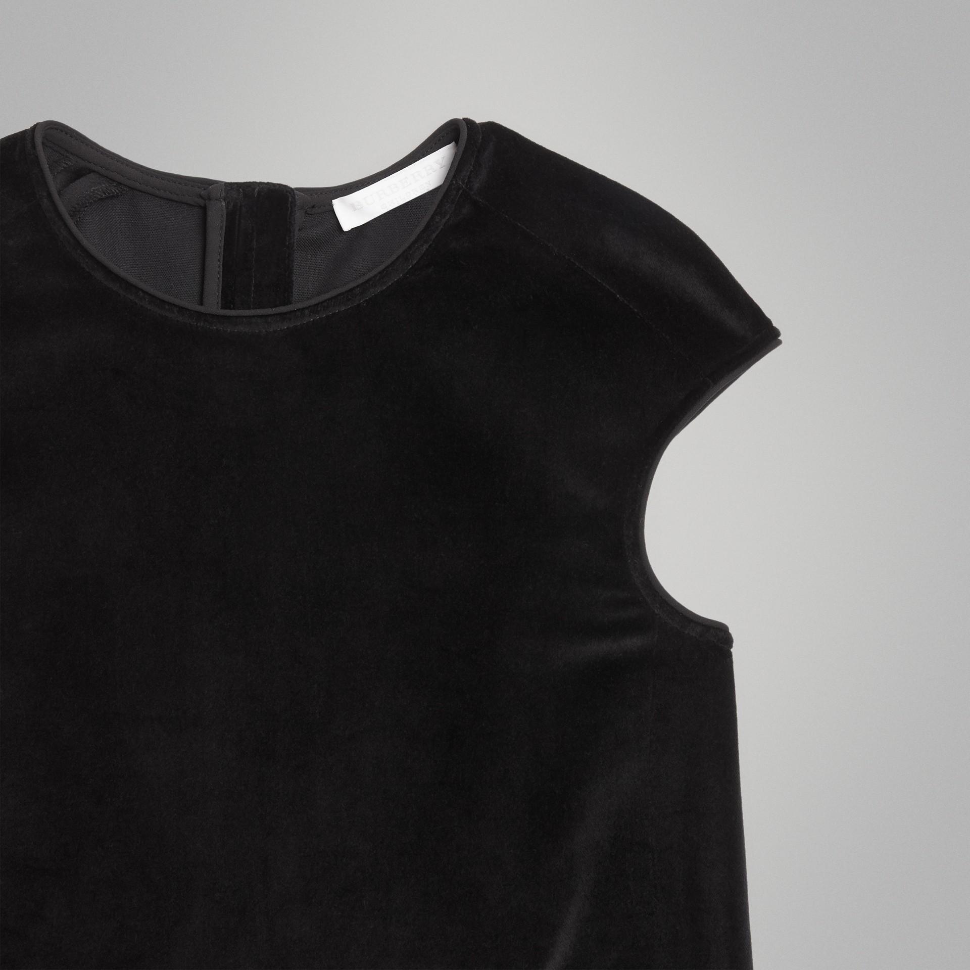 Piping Detail Velvet Shift Dress in Black | Burberry United States - gallery image 4