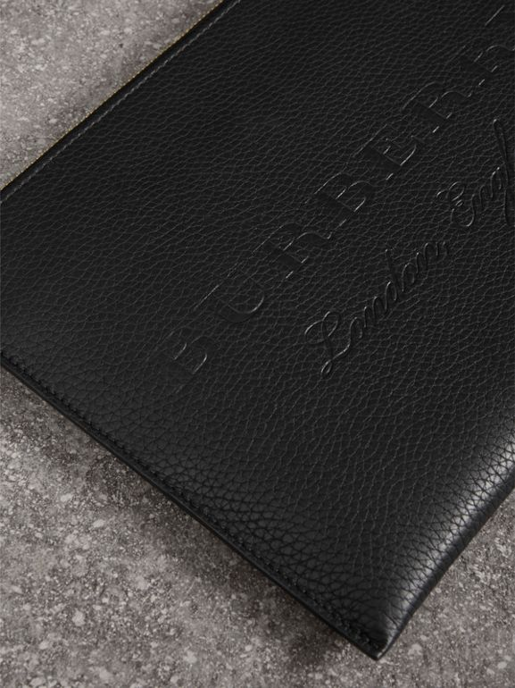 Embossed Leather Ziparound Pouch and Coin Case in Black | Burberry - cell image 1