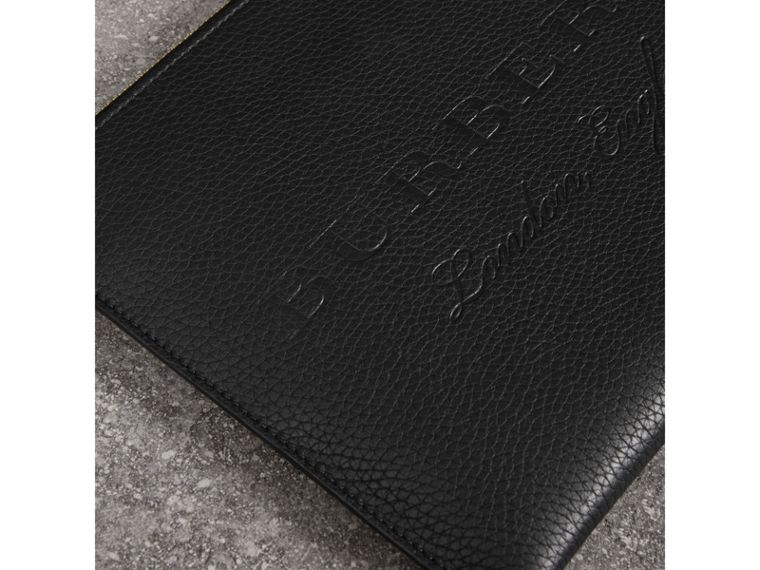 Embossed Leather Ziparound Pouch and Coin Case in Black | Burberry United States - cell image 1
