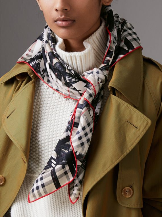 Scribble Check Silk Square Scarf in Stone - Women | Burberry - cell image 2
