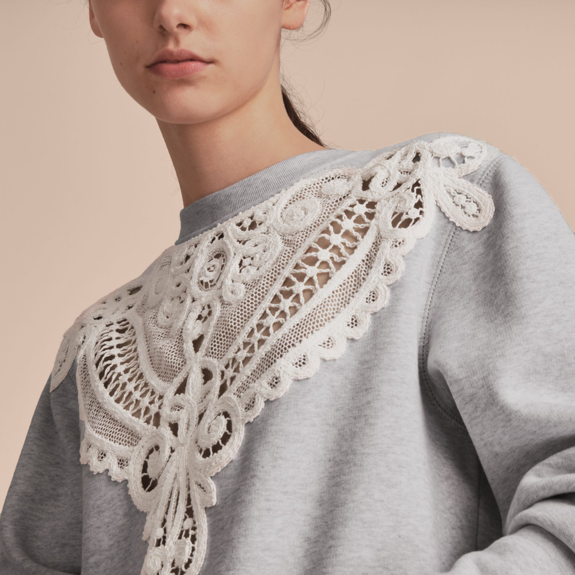 Unisex Lace Cutwork Sweatshirt in Light Grey Melange - Women | Burberry Singapore - gallery image 6