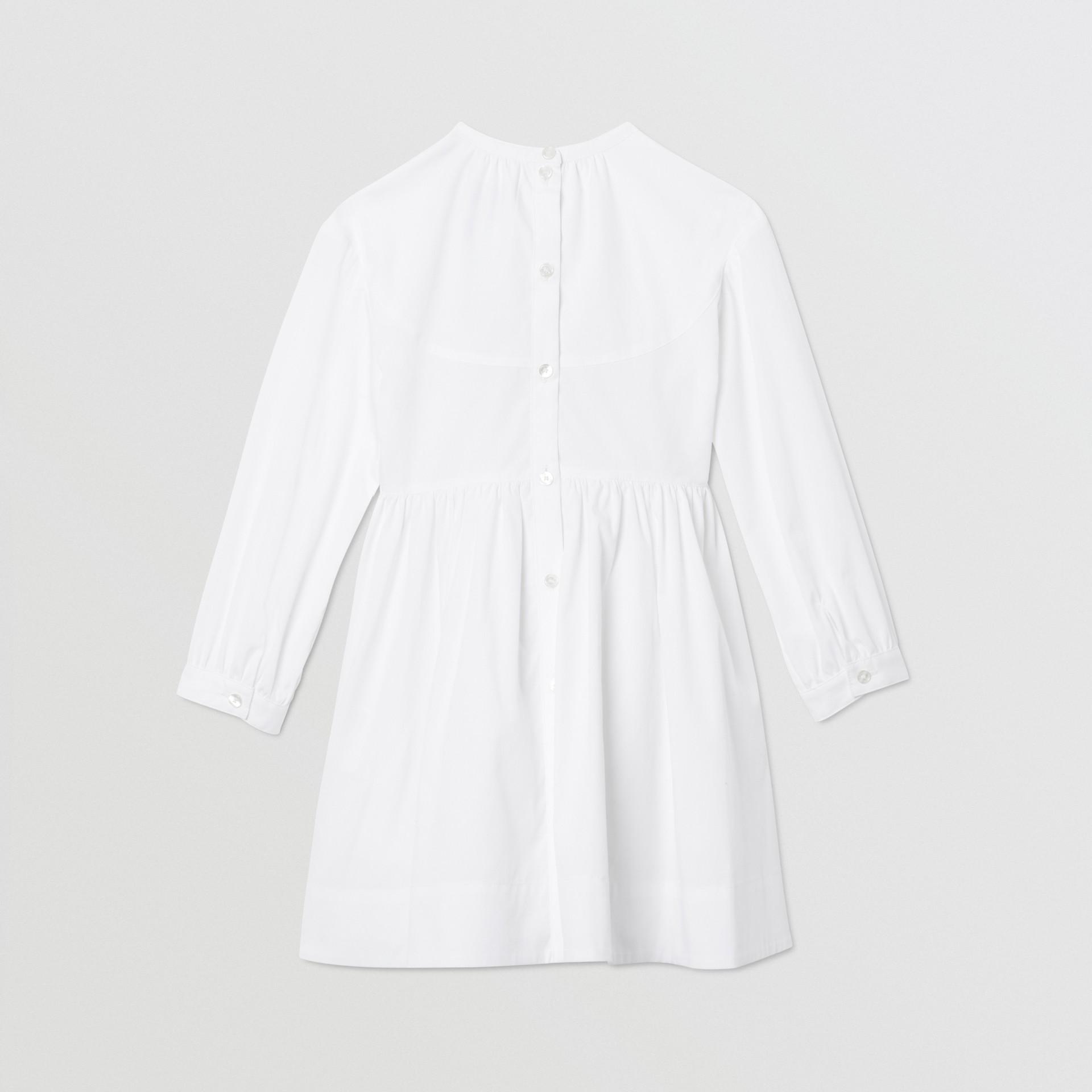 Icon Stripe Trim Stretch Cotton Poplin Dress in White | Burberry United Kingdom - gallery image 3