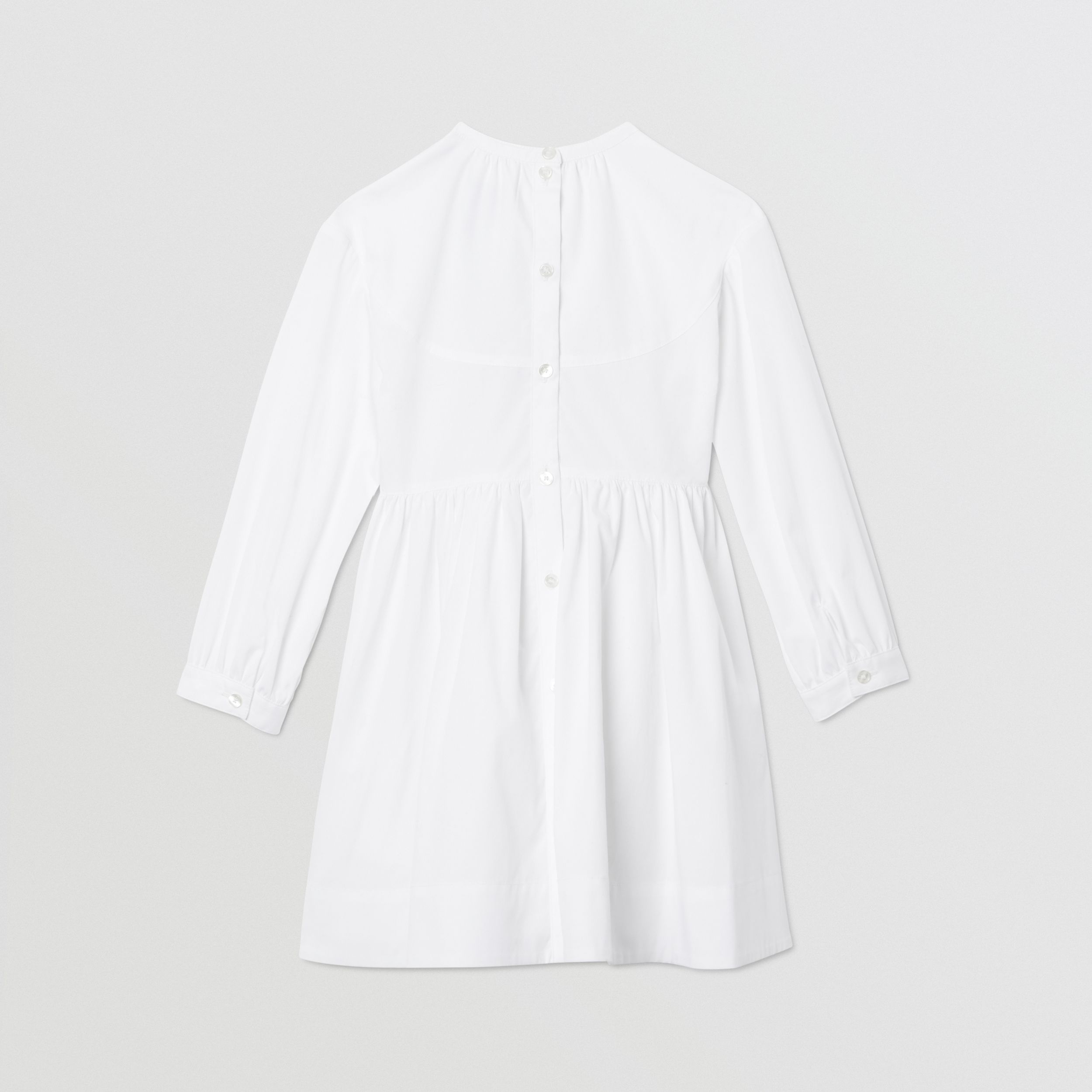 Icon Stripe Trim Stretch Cotton Poplin Dress in White | Burberry - 4