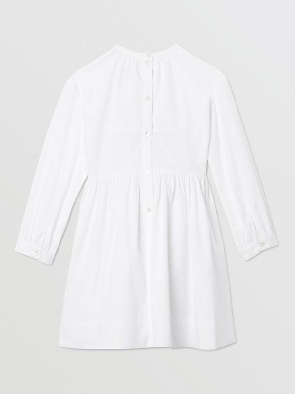 Icon Stripe Trim Stretch Cotton Poplin Dress in White | Burberry United Kingdom - cell image 3