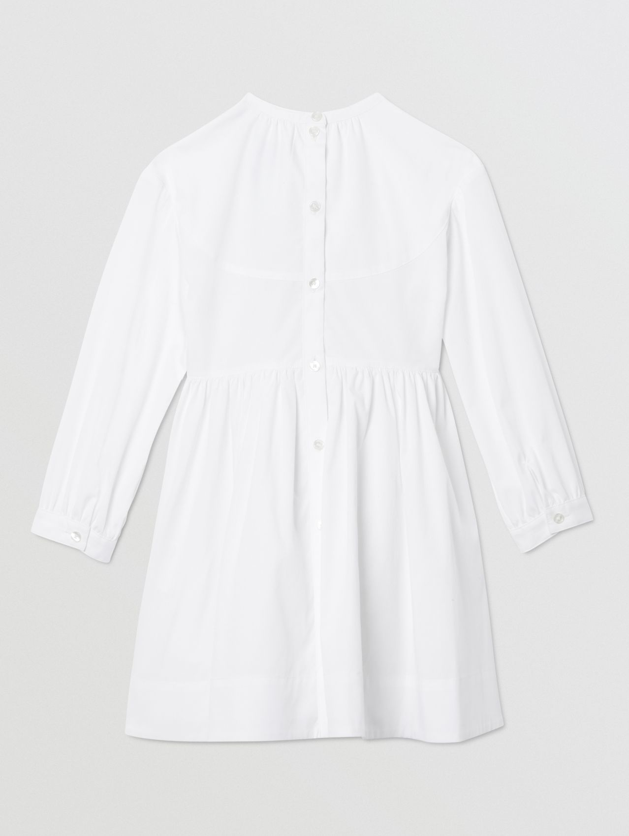 Icon Stripe Trim Stretch Cotton Poplin Dress in White