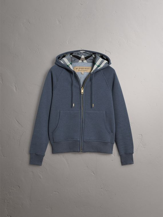 Hooded Cotton Blend Top in Storm Blue - Women | Burberry - cell image 3