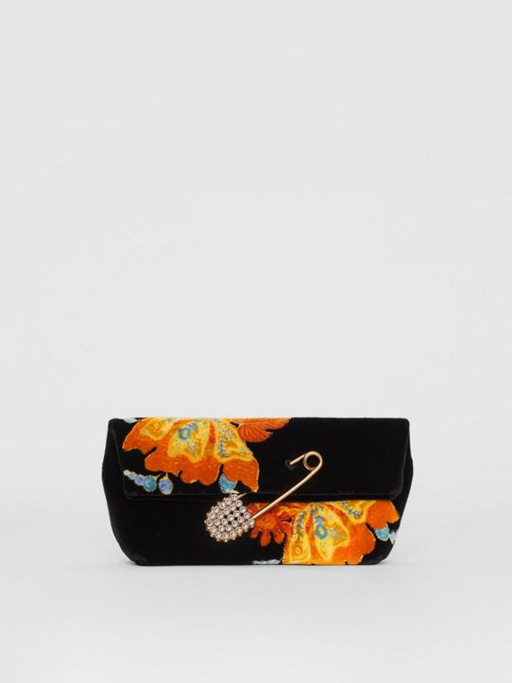 The Small Pin Clutch in Floral Velvet in Black