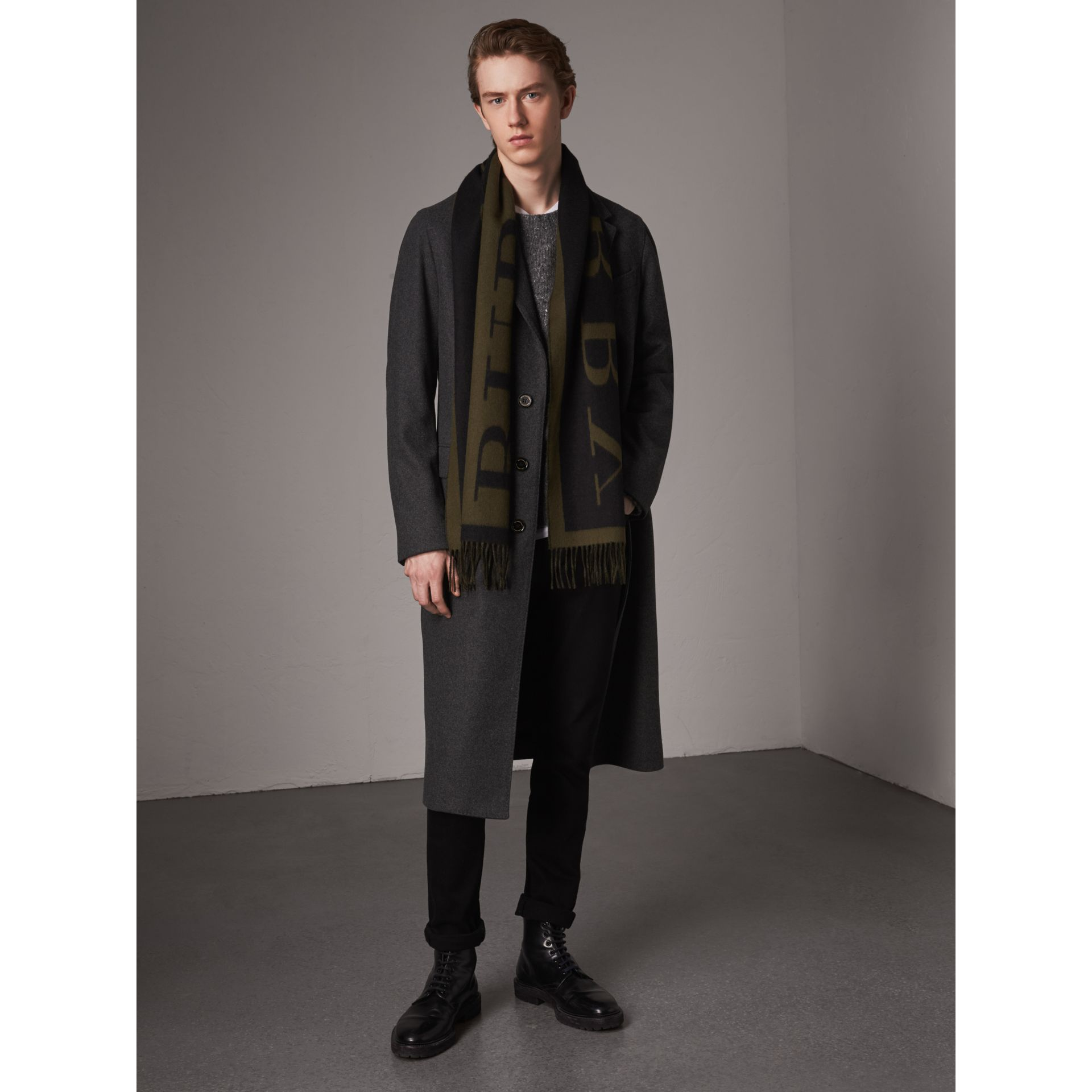 Melange Wool Blend Coat in Dark Grey - Men | Burberry - gallery image 7