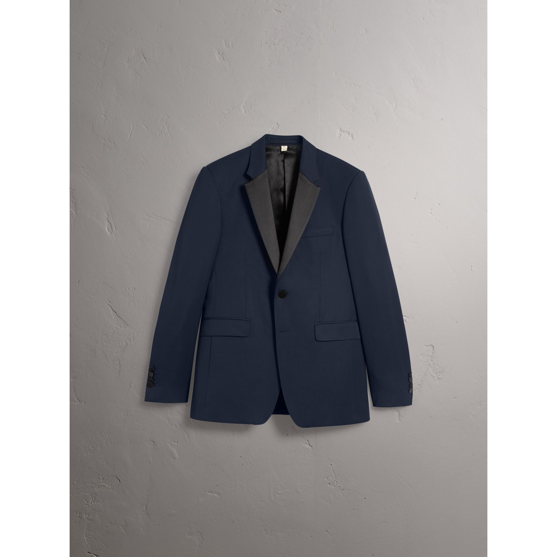 Modern Fit Virgin Wool Half-canvas Tuxedo in Navy - Men | Burberry United Kingdom - gallery image 3