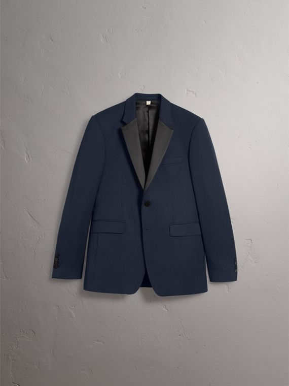 Modern Fit Virgin Wool Half-canvas Tuxedo in Navy - Men | Burberry Canada - cell image 3