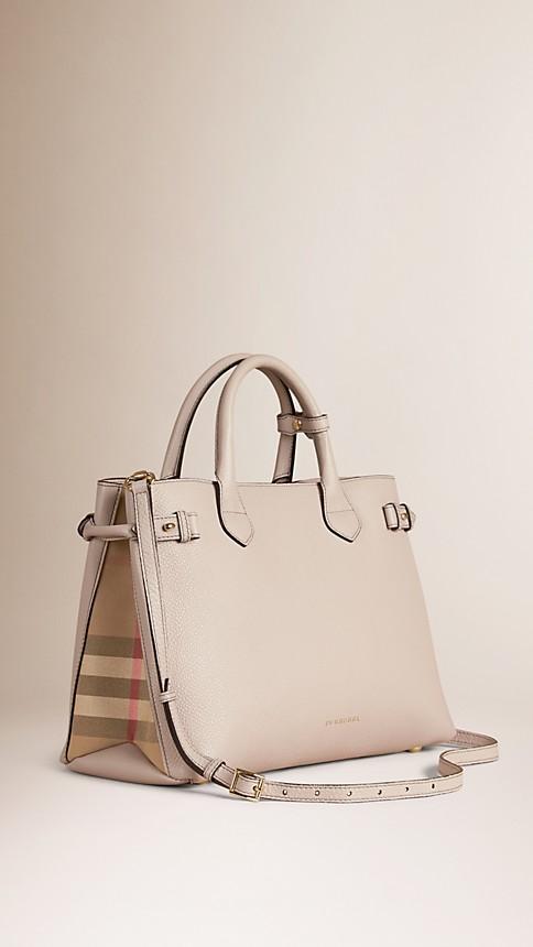 Cinza claro mesclado Bolsa Banner média de couro com estampa House Check - Imagem 1