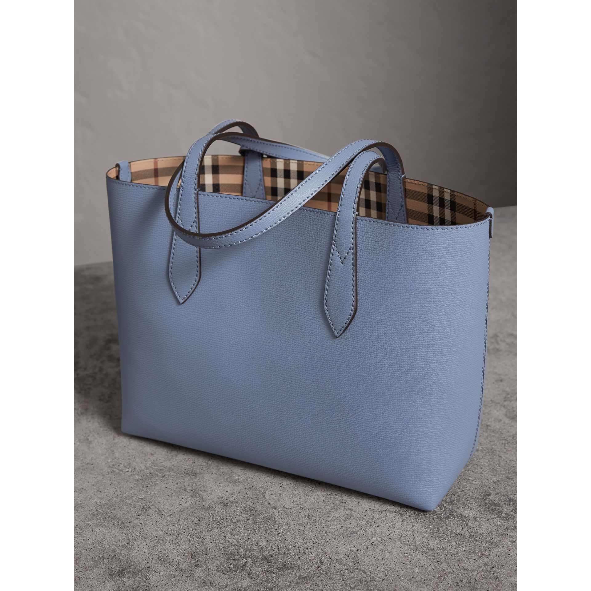 The Small Reversible Tote in Haymarket Check and Leather in Slate Blue - Women | Burberry Canada - gallery image 5