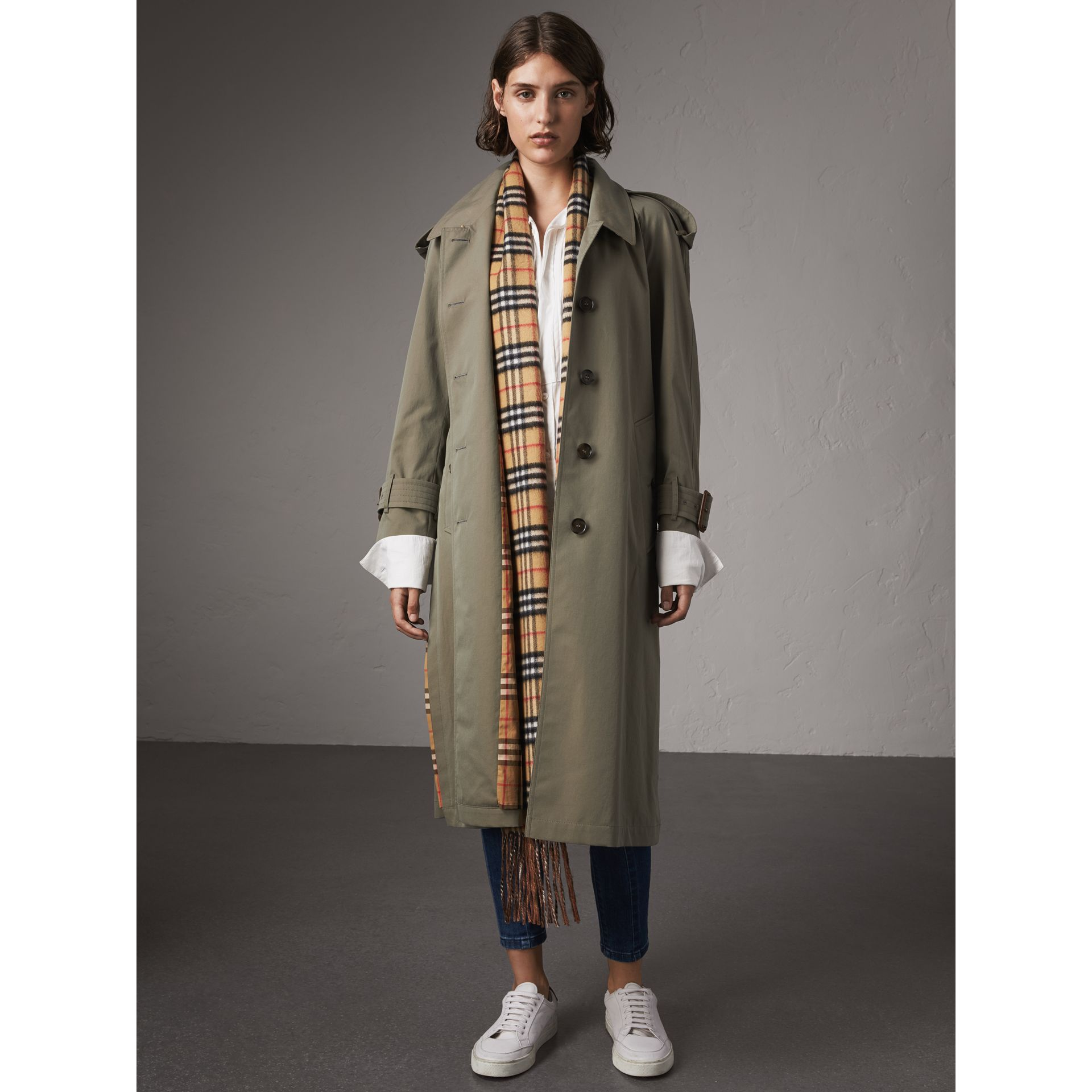 Side-slit Tropical Garbadine Trench Coat in Chalk Green - Women | Burberry - gallery image 7