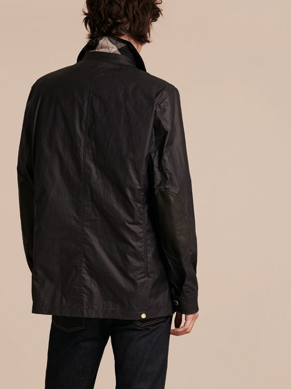 Dark navy Waxed Cotton Linen Jacket with Detachable Warmer - cell image 2