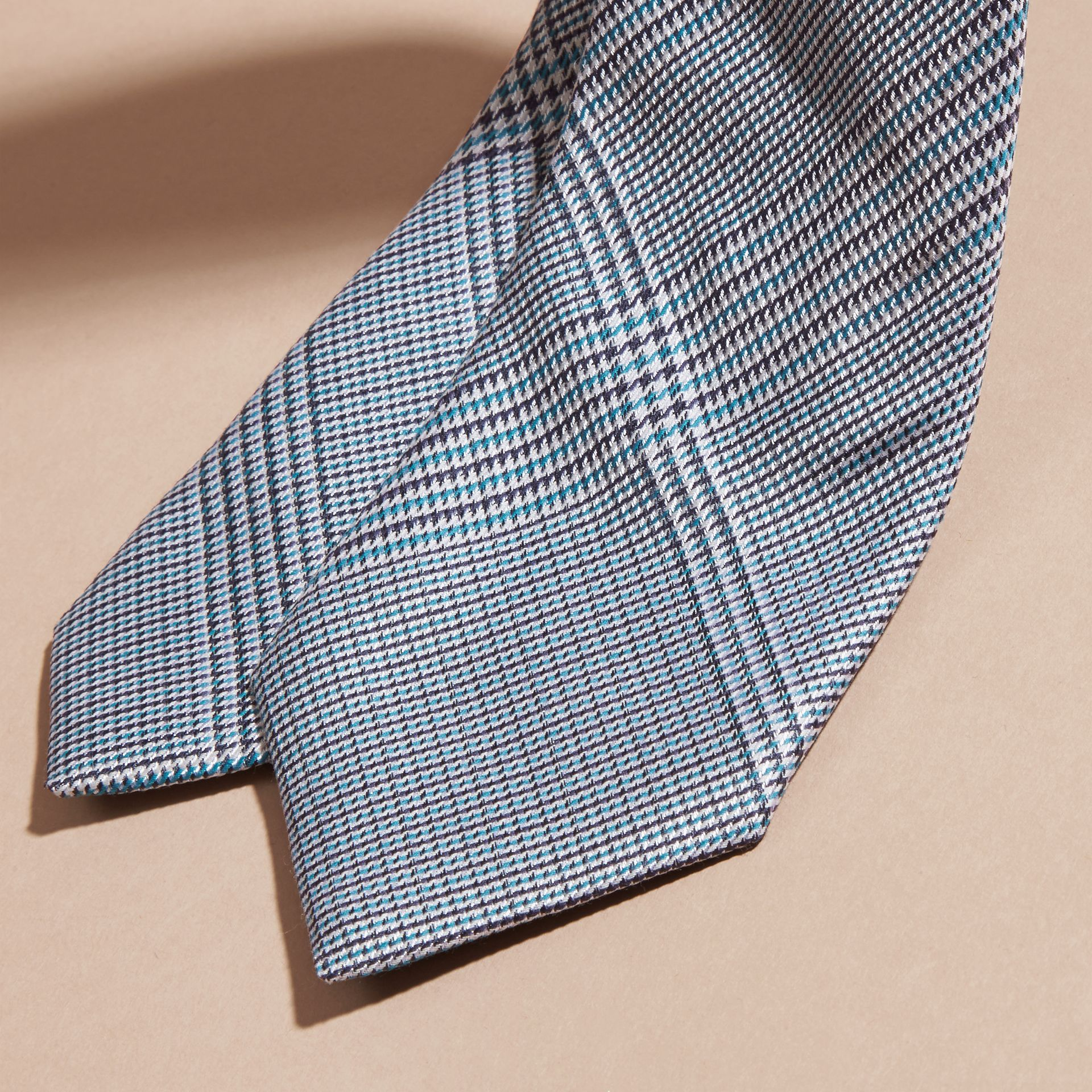Eucalyptus green Slim Cut Check Cotton Silk Tie Eucalyptus Green - gallery image 2