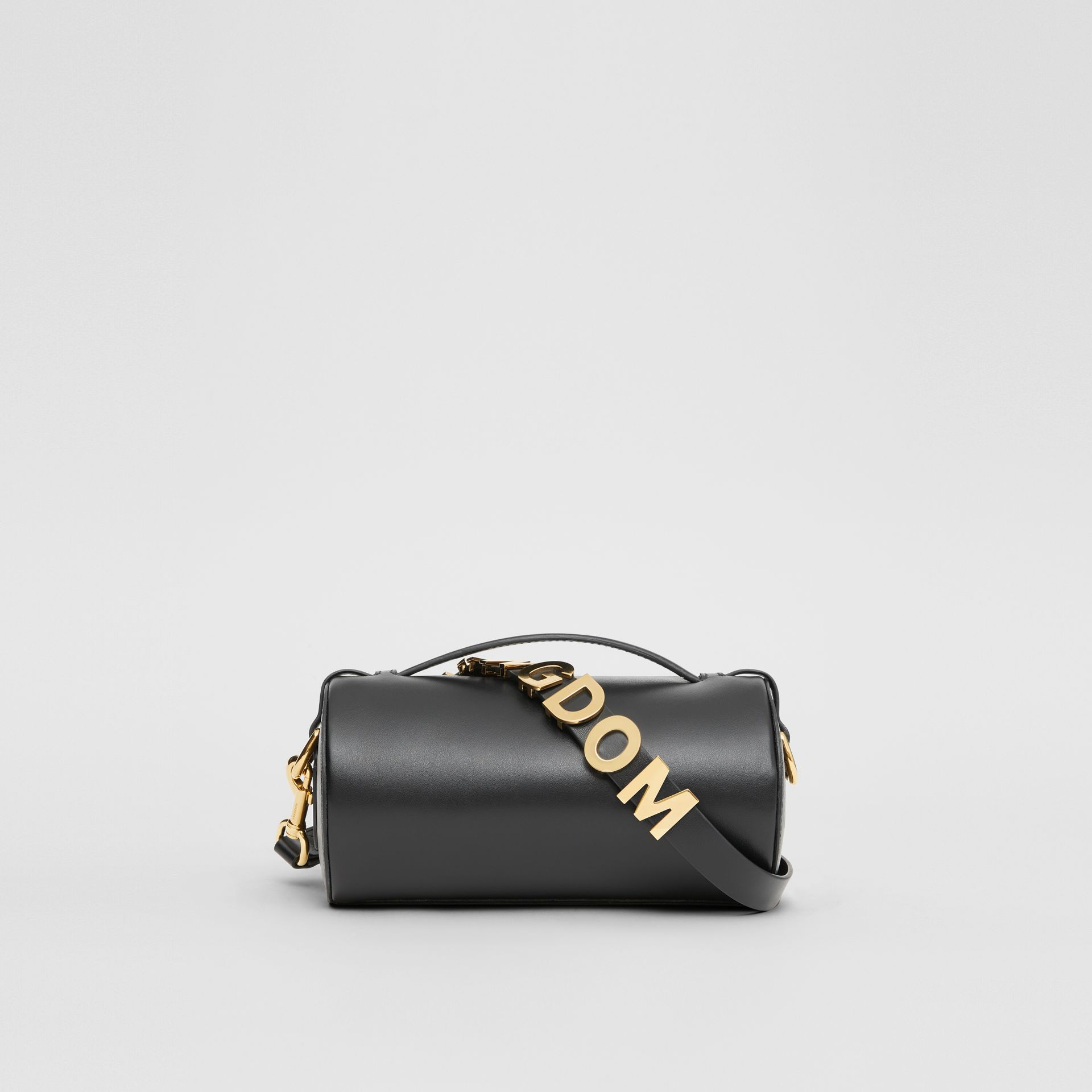 The Kingdom Motif Leather Barrel Bag in Black - Women | Burberry Australia - gallery image 7