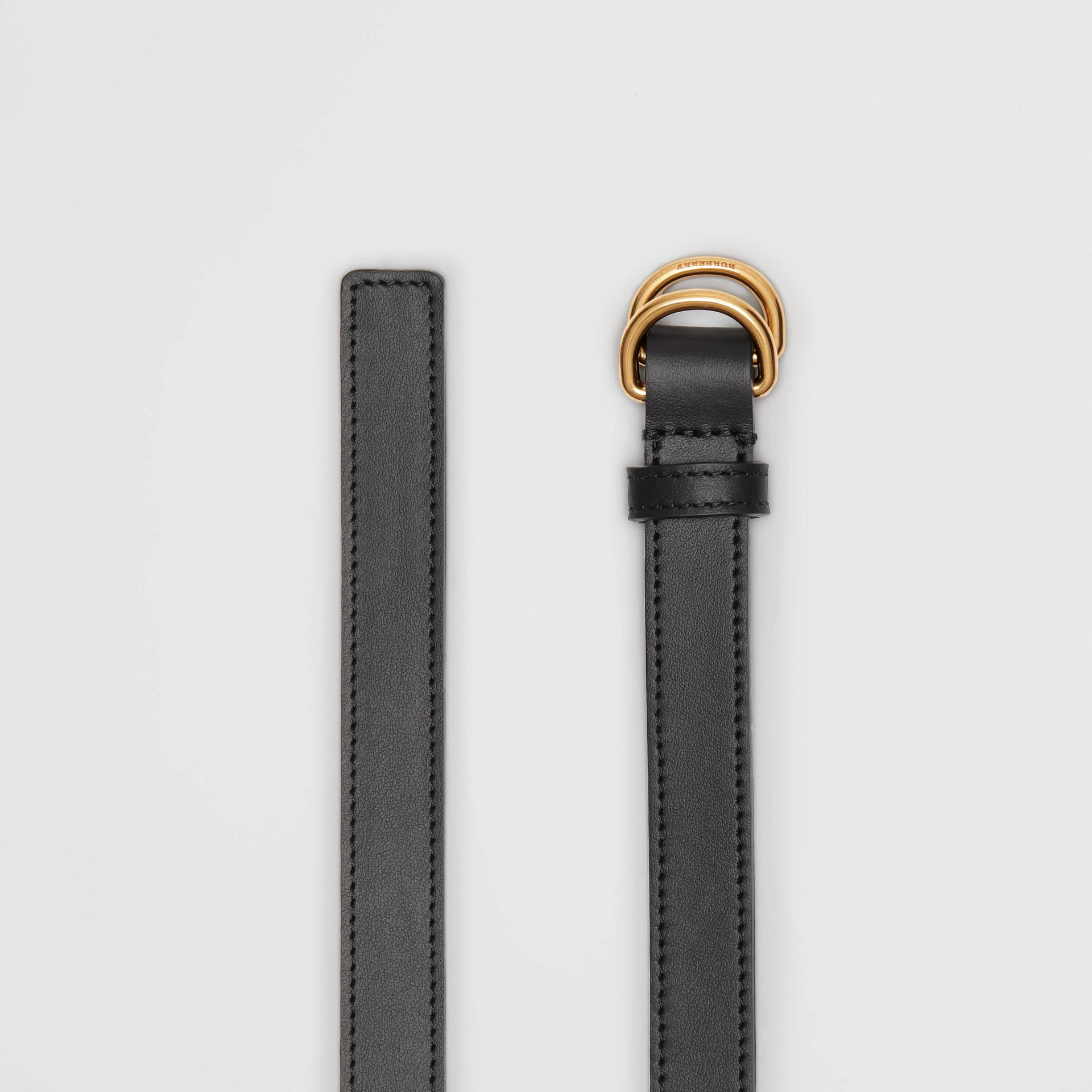 Slim Leather Double D-ring Belt in Black - Women | Burberry - gallery image 5