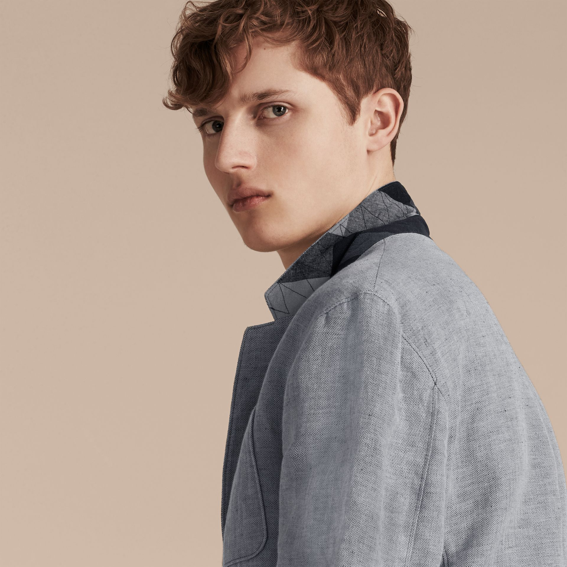 Pale blue Herringbone Linen Cotton Tailored Jacket Pale Blue - gallery image 6