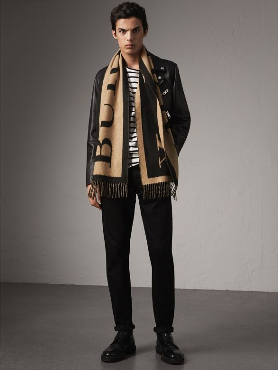 Emblem Print Cashmere Scarf in Camel | Burberry United Kingdom - cell image 2