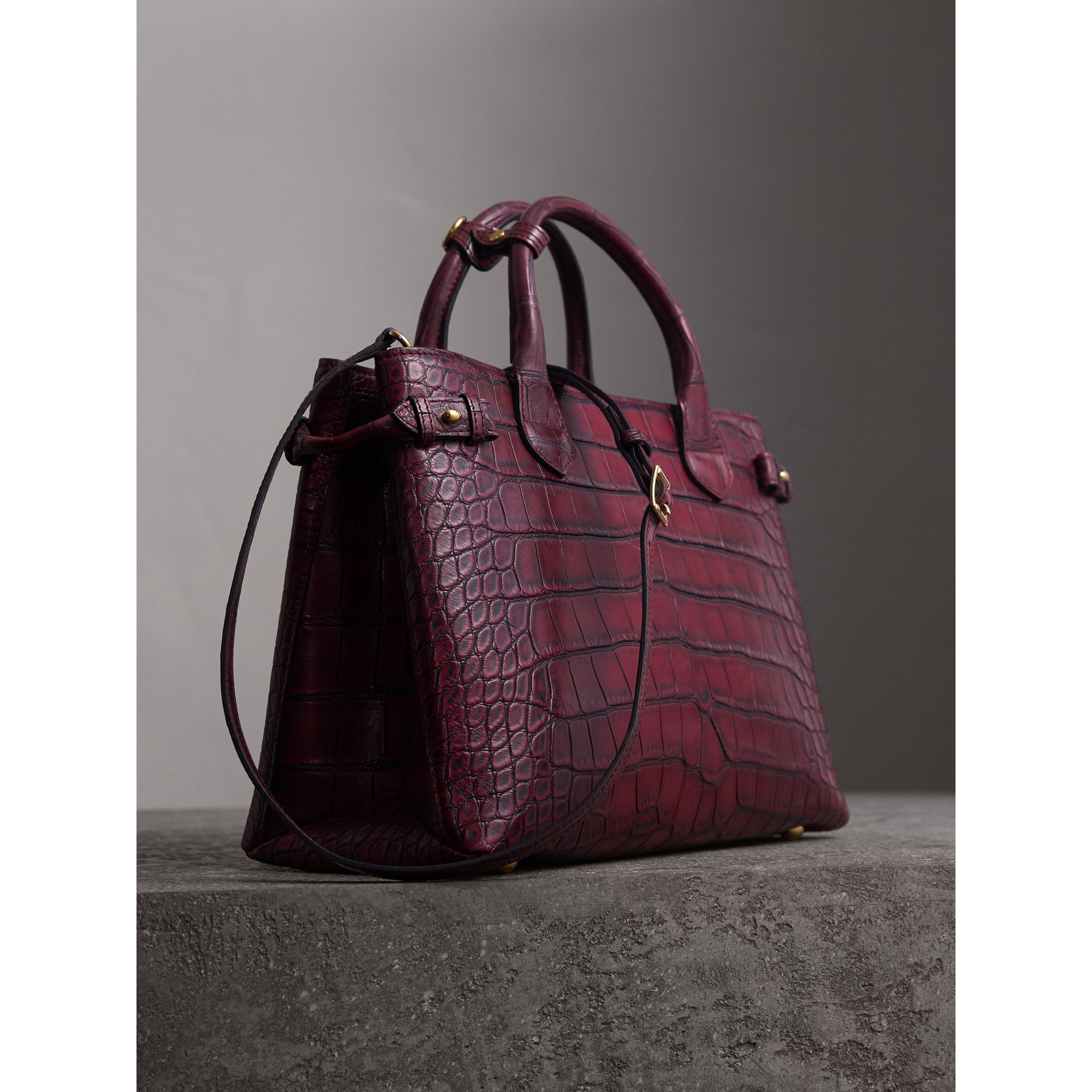 The Medium Banner in Alligator in Elderberry - Women | Burberry - gallery image 4