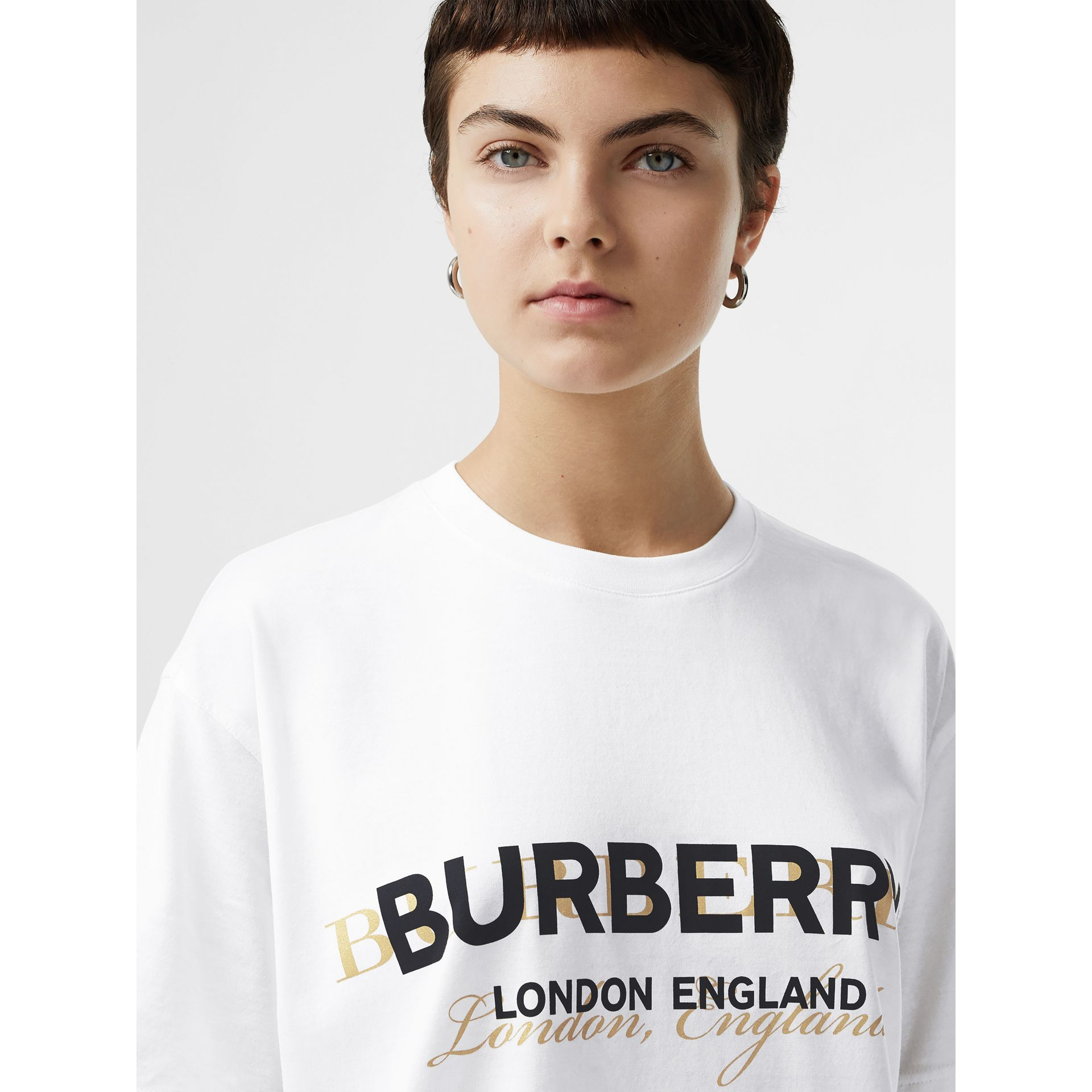 Double Logo Print Cotton Oversized T-shirt in White - Women | Burberry - gallery image 1