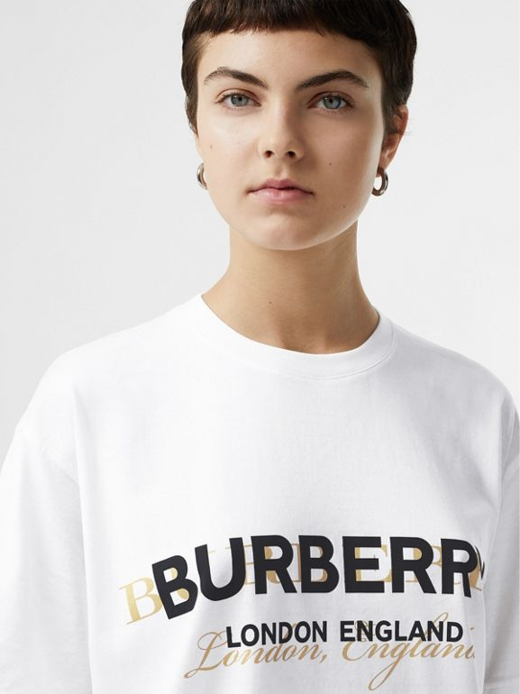 Double Logo Print Cotton Oversized T-shirt in White - Women | Burberry - cell image 1