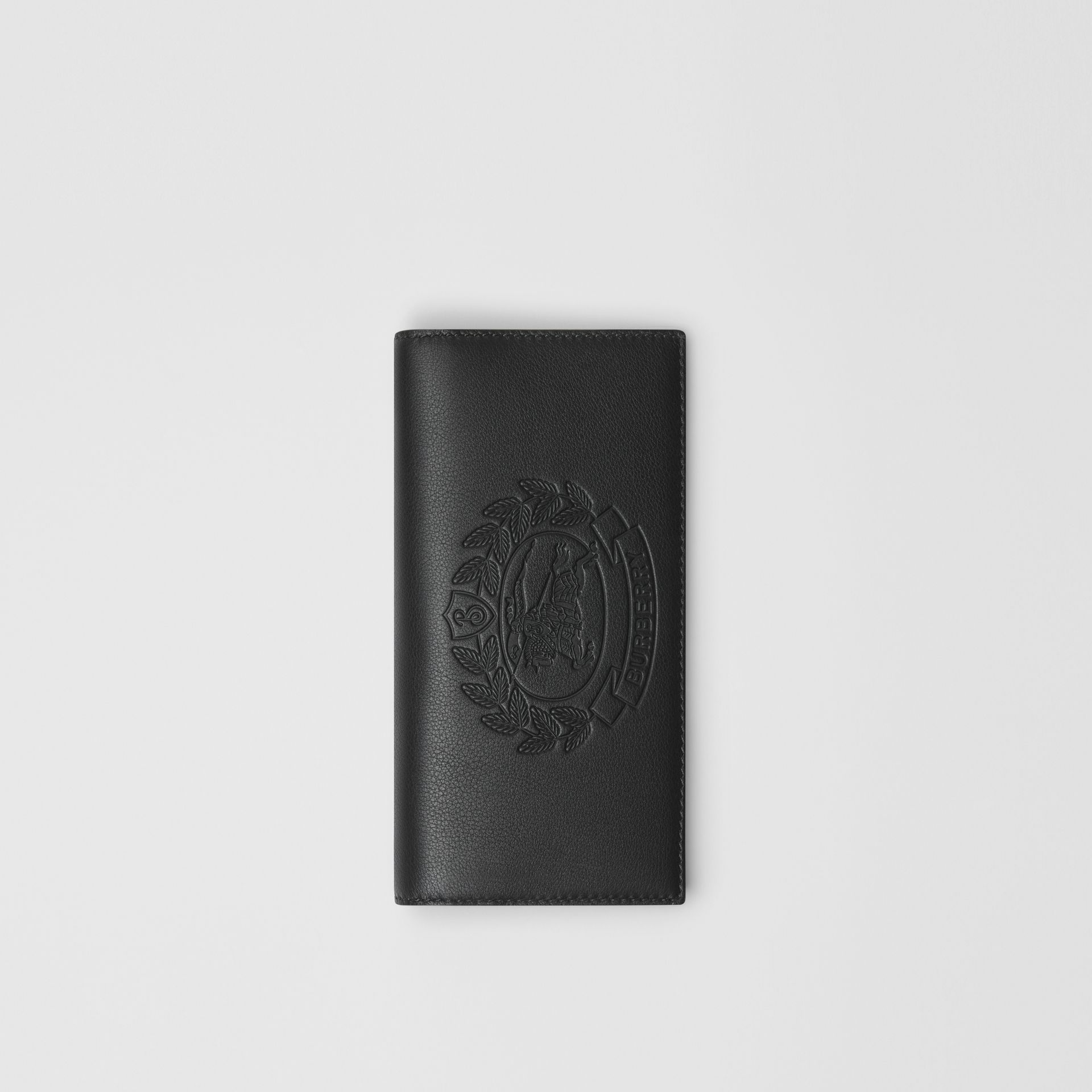 Embossed Crest Leather Continental Wallet in Black - Men | Burberry - gallery image 0