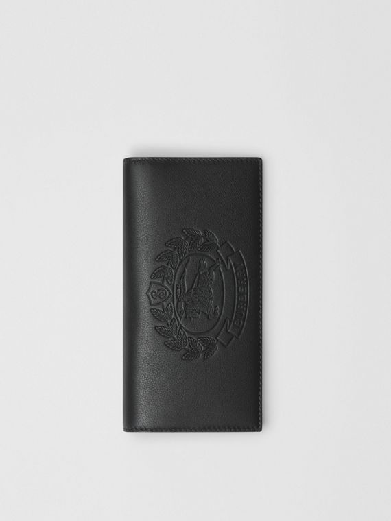 Embossed Crest Leather Continental Wallet in Black