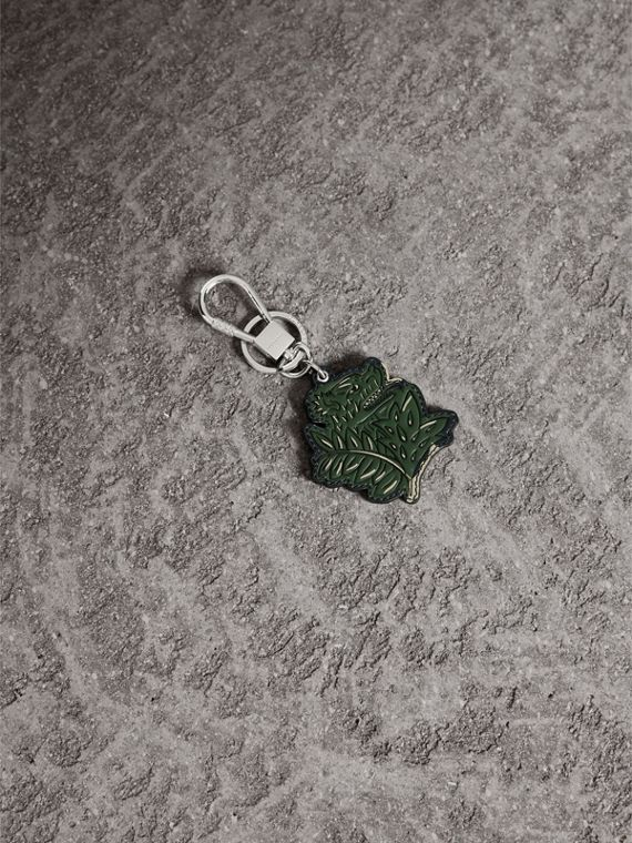 Beasts Leather Key Ring in Olive Green