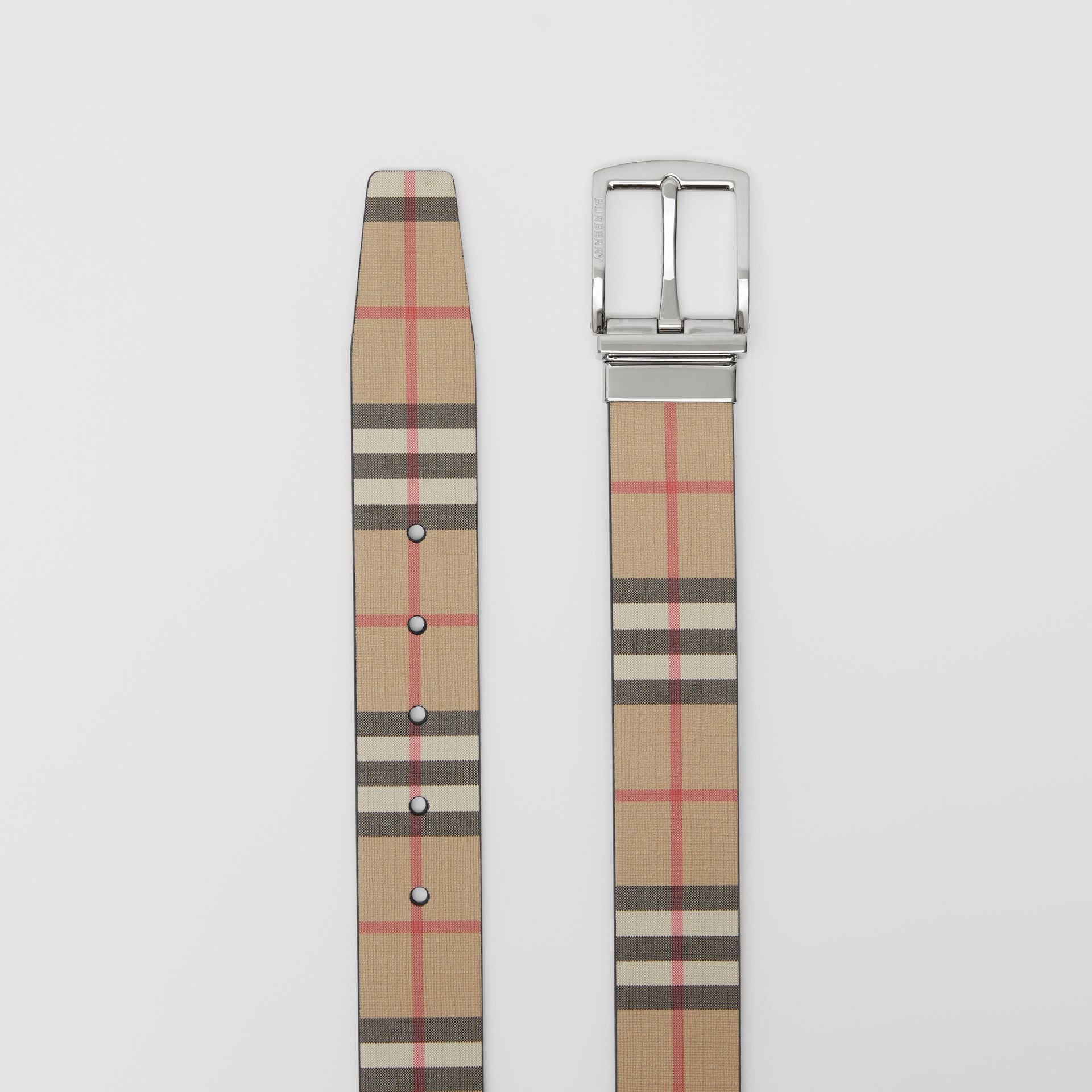 Reversible Vintage Check E-canvas and Leather Belt in Archive Beige - Men | Burberry Singapore - gallery image 6