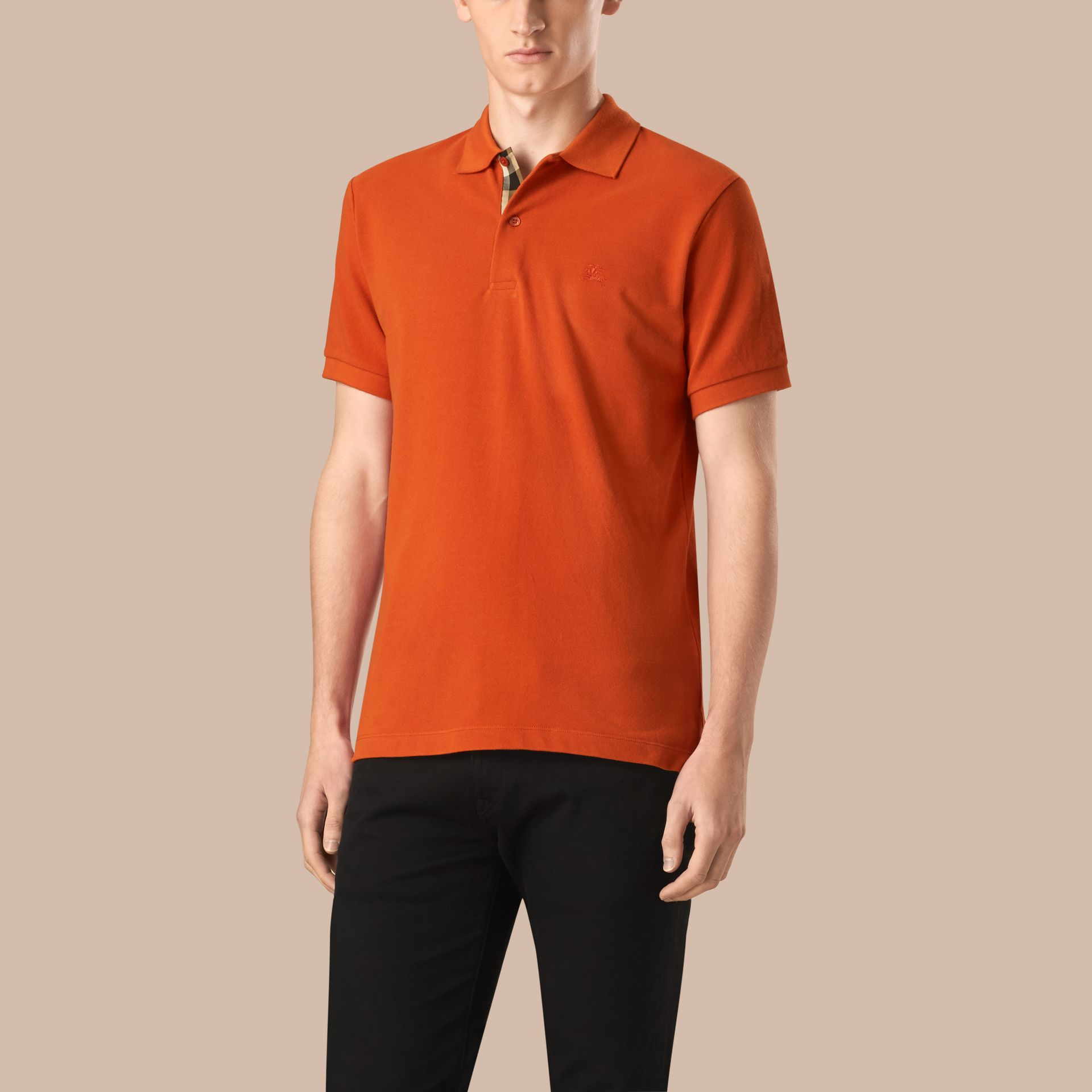 Orange red Check Placket Cotton Piqué Polo Shirt Orange Red - gallery image 1