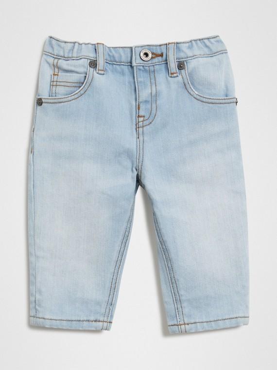 休閒剪裁伸縮牛仔褲 (淺藍色)