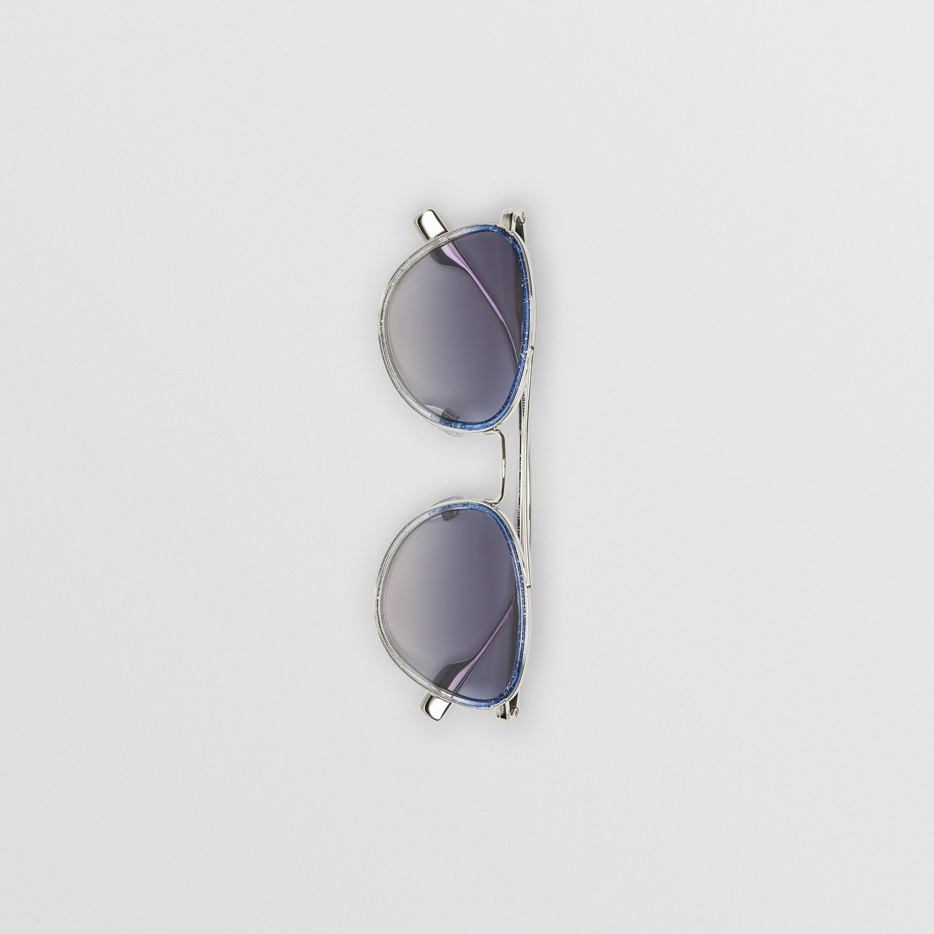 Glitter Detail Pilot Sunglasses in Blue - Women | Burberry Australia - gallery image 3