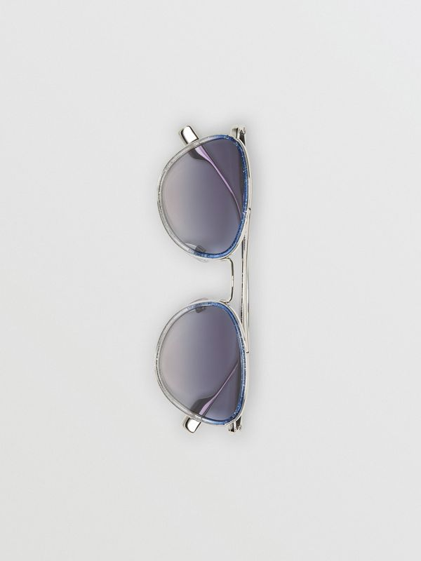 Glitter Detail Pilot Sunglasses in Blue - Women | Burberry United Kingdom - cell image 3