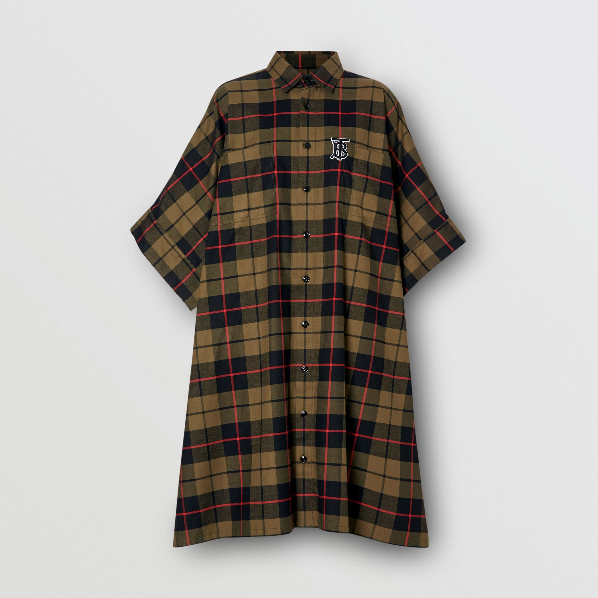 Monogram Motif Check Cotton Oversized Poncho in Military Olive | Burberry - gallery image 3
