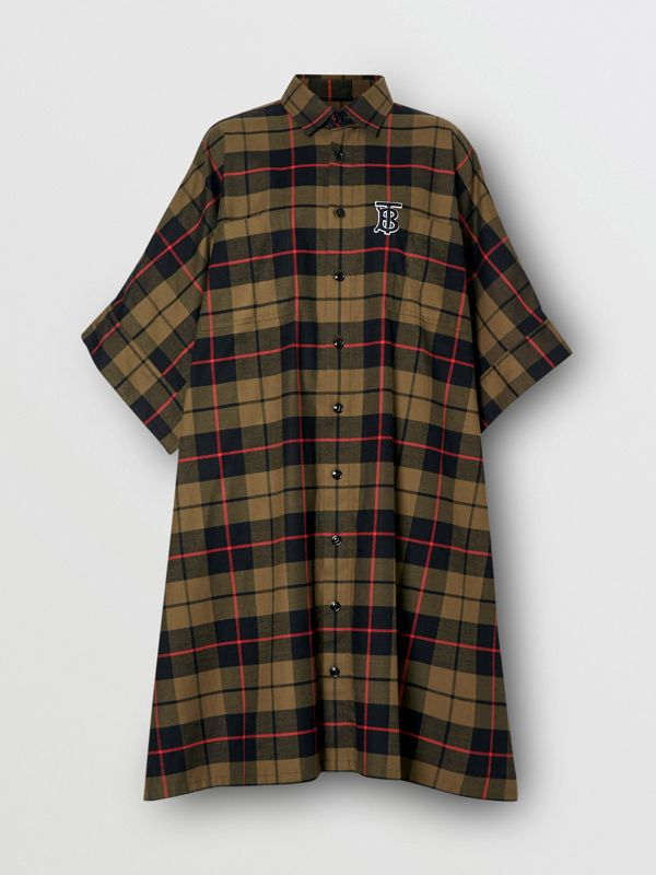 Monogram Motif Check Cotton Oversized Poncho in Military Olive | Burberry - cell image 3