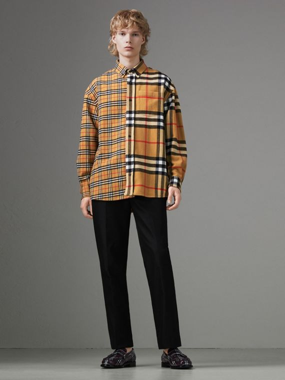 Gosha x Burberry Check Flannel Shirt in Antique Yellow
