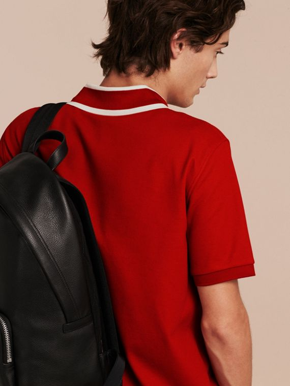 Striped Collar Cotton Piqué Polo Shirt in Uniform Red - cell image 2