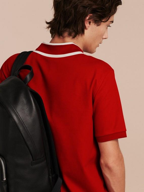 Polo en piqué de coton avec col rayé Rouge Uniforme - cell image 2