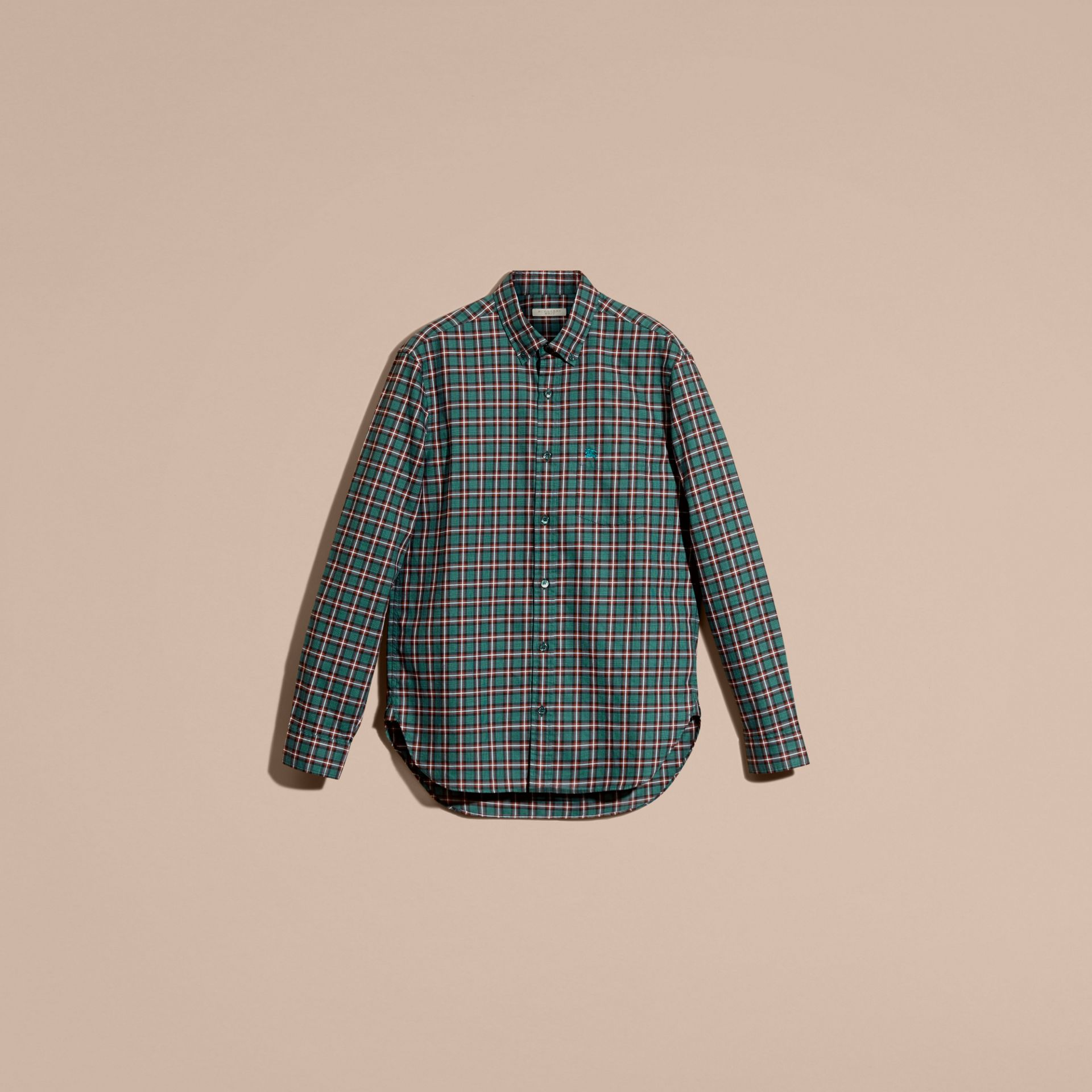 Dark teal green Tartan Cotton Twill Shirt Dark Teal Green - gallery image 4