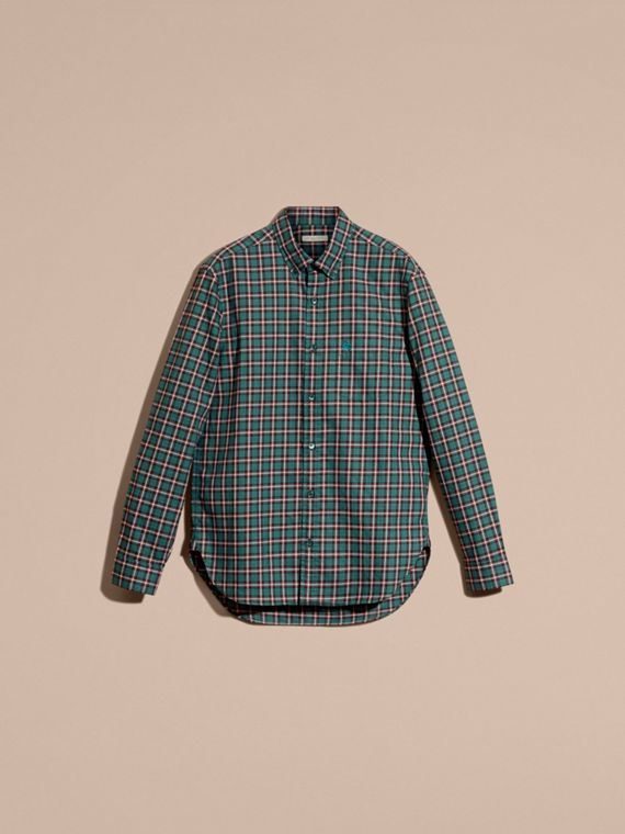 Dark teal green Tartan Cotton Twill Shirt Dark Teal Green - cell image 3