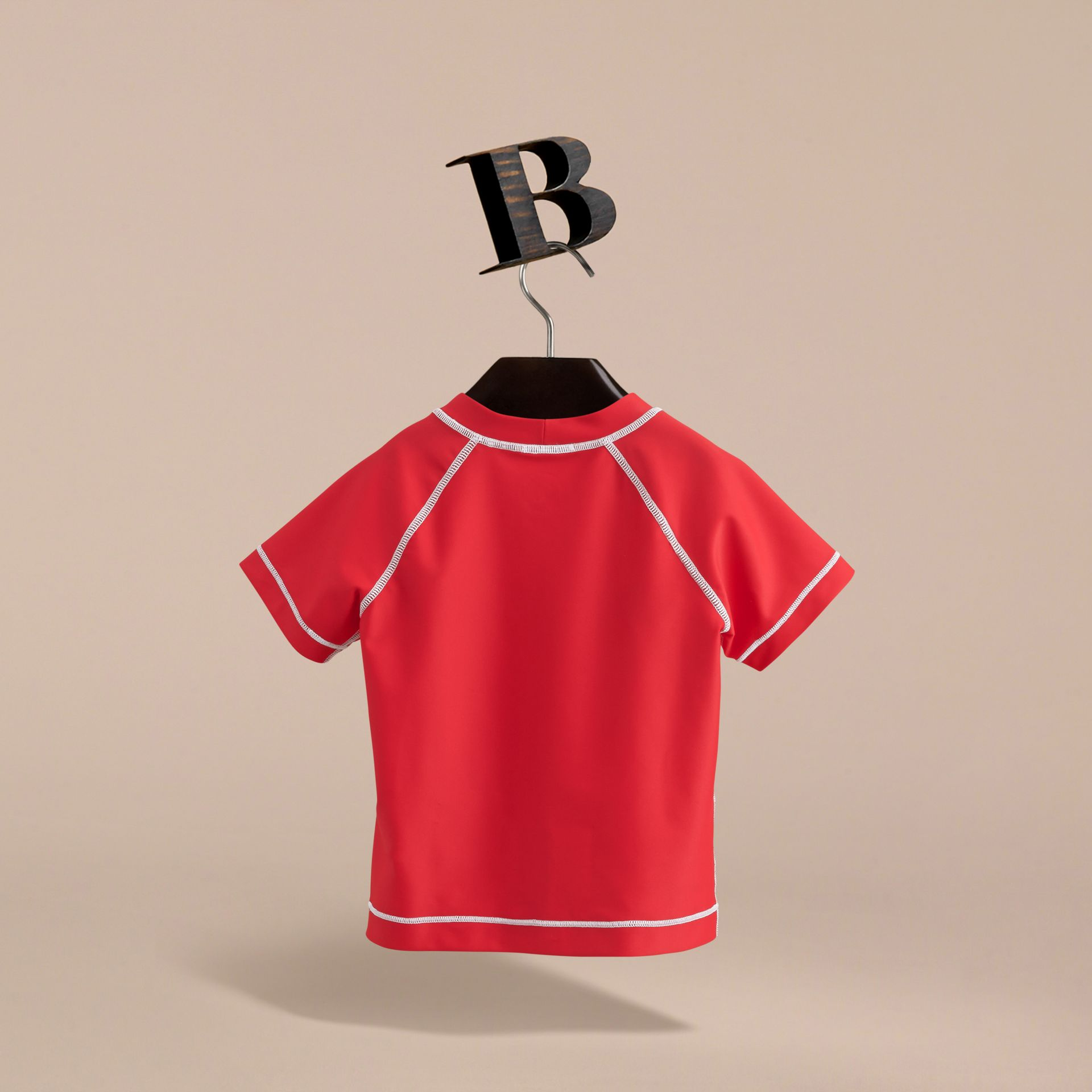 Contrast Seam Rash Top in Poppy Red - Girl | Burberry - gallery image 4