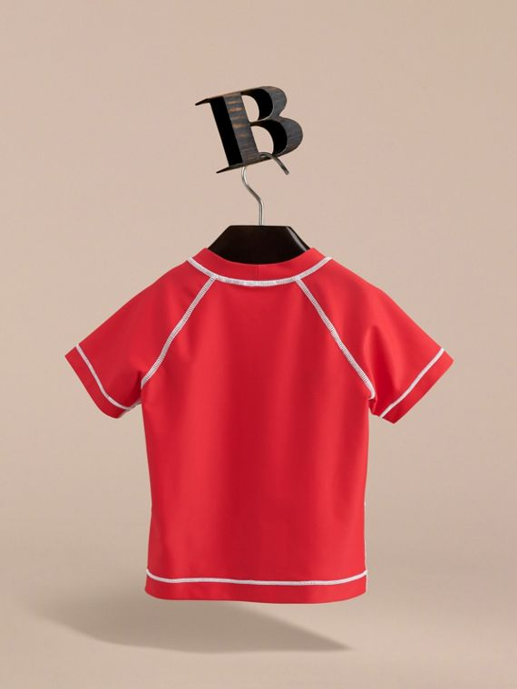 Contrast Seam Rash Top in Poppy Red - Girl | Burberry - cell image 3
