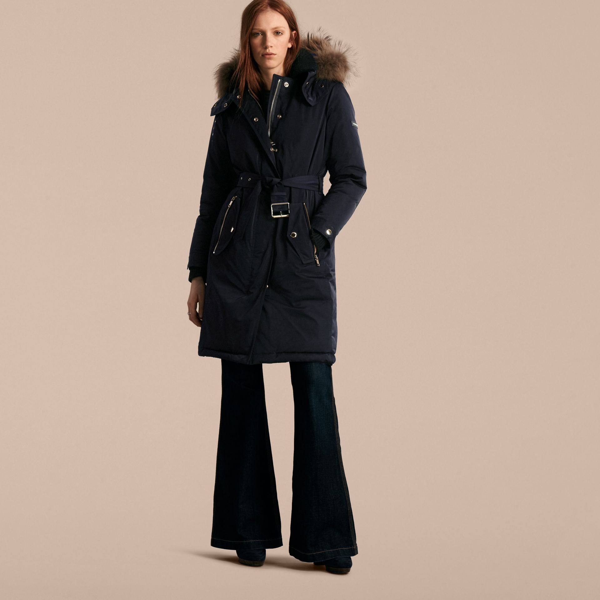 Navy Down-filled Parka Coat with Detachable Fur Trim Navy - gallery image 7